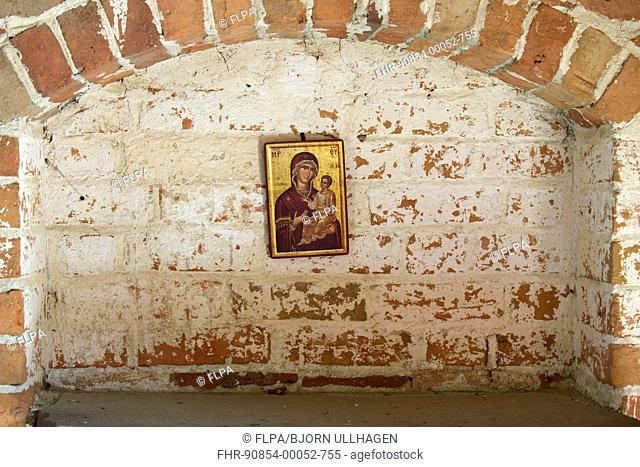 Icon of Mary and Jesus on church wall, Vendels Church, Uppland, Sweden, june