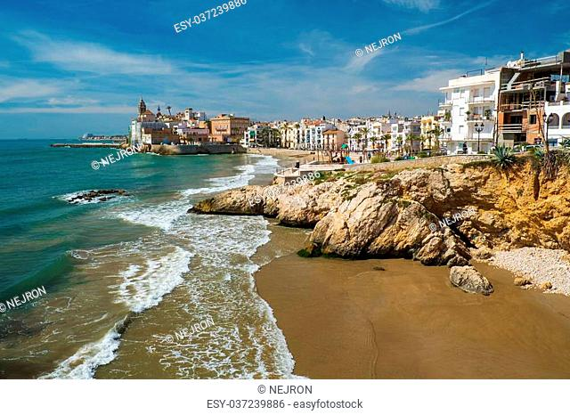 Beautiful coast of town of Sitges, Spain