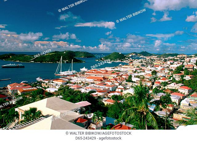 Houses and harbour in Charlotte Amalie from Government Hill. Saint Thomas Island. U.S. Virgin Islands