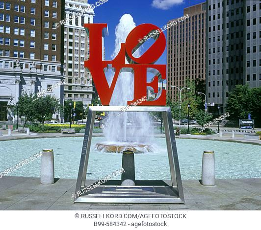 Òloveó Sign, Downtown, Philadelphia, Pennsylvania, Usa