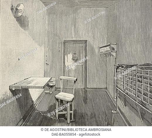 The new cells of a French prison, illustration from the magazine L'Illustration, year 56, no 2891, July 23, 1898. DeA / Veneranda Biblioteca Ambrosiana, Milan