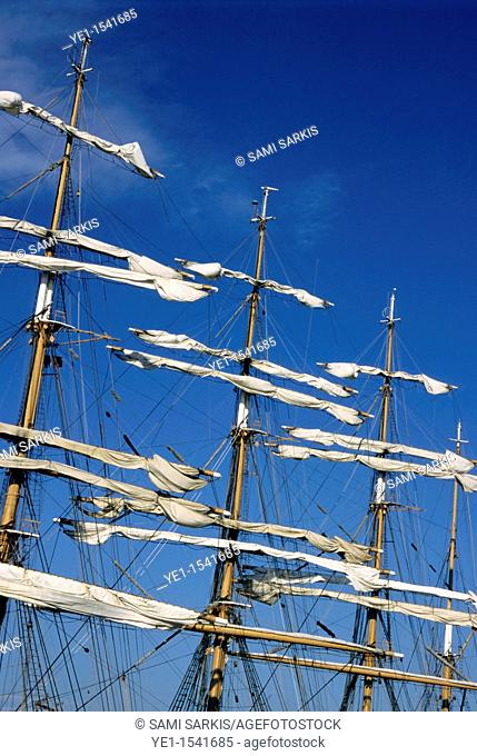 Mast of a Russian sailing ship Sedov docked in Marseille, France