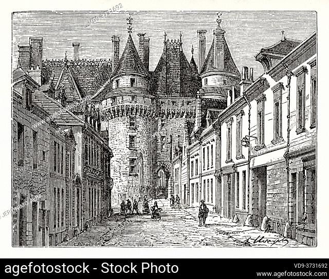 Langeais Chateau. UNESCO World Heritage Site, Loire Valley, France. Old XIX century engraving illustration. Les Français Illustres by Gustave Demoulin 1897