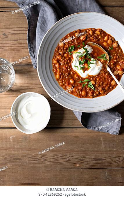 Moroccan harira spicy soup with chickpeas and lentils