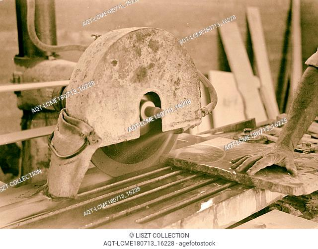 Jewish factories in Palestine on Plain of Sharon & along the coast to Haifa 'Elicana Lewin' stone works. Cutting marble slabs with emery wheel, close up