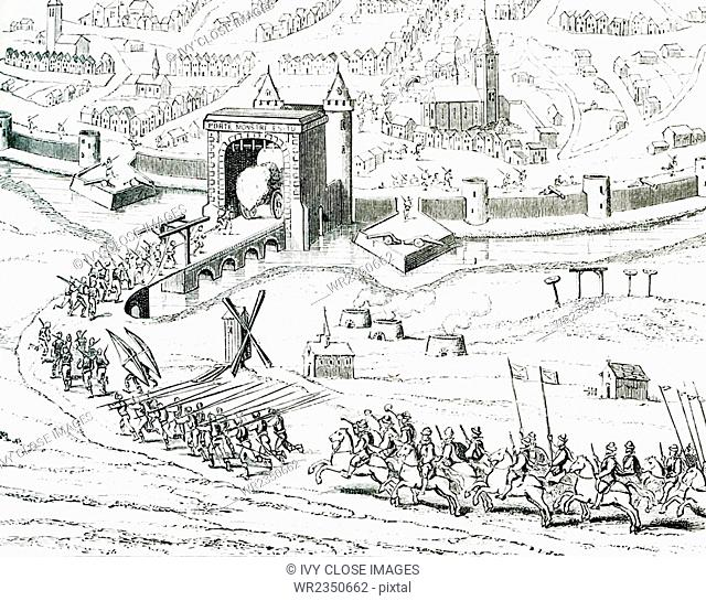 Pictured in this 1597 illustration is the surprise attack on Amiens in France by the Spanish on March 11 that very year. The illustration is from a drawing...