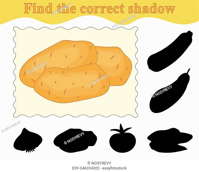 Education. Game for kids. Find the correct shadow of potatoes. Vector illustration