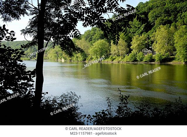 Summertime turns the Delaware River basin a rich green, New Jersey, USA
