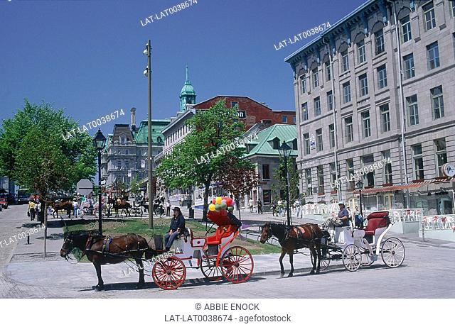 Old Montreal. Place Jacques Cartier. Street scene. Pedestrians. Cars. Horse and carriage. Tower of Hotel de Ville in background. Blue sky