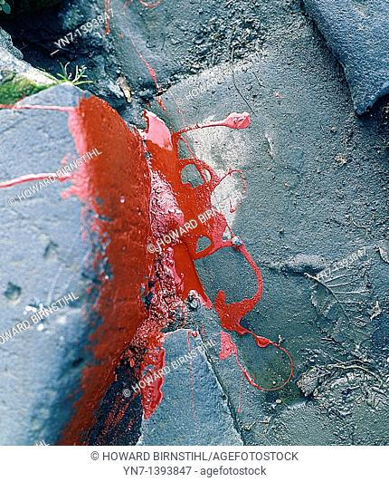 Abstract vision of a red paint spill in a damp, muddy cobble stoned gutter