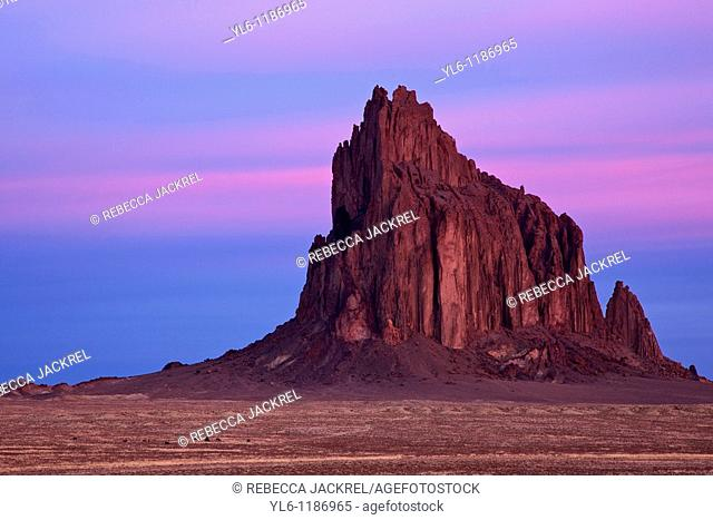 North America, USA, New Mexico  Ship Rock at sunrise