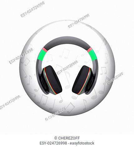 Headphones with music notes. Spherical glossy button. Web element