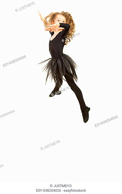 Beauty ballerina girl jumping isolated on white background