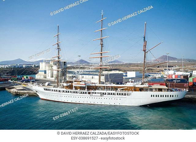 Sailing ship Sea Cloud II docked at Lanzarote harbor, Canary islands, Spain