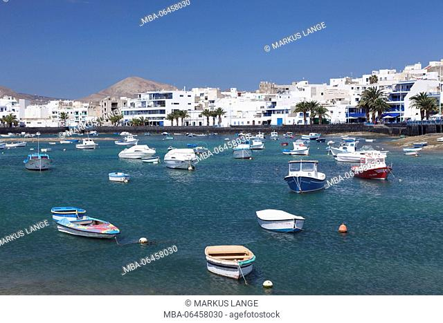Fishing boats in the lagoon Charco San Gines, Arrecife, Lanzarote, Canary islands, Spain