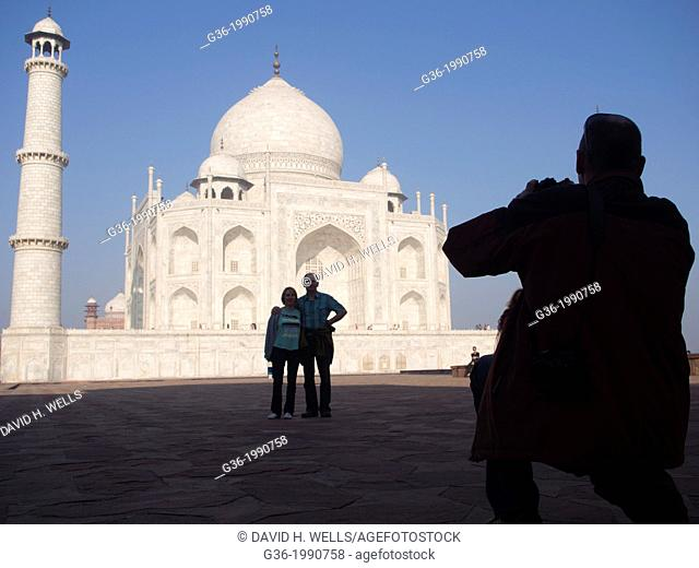 Silhouette of tourists at Taj Mahal in Agra, Uttar Pradesh, India