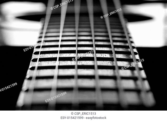 Closeup of Guitar Strings and Frets