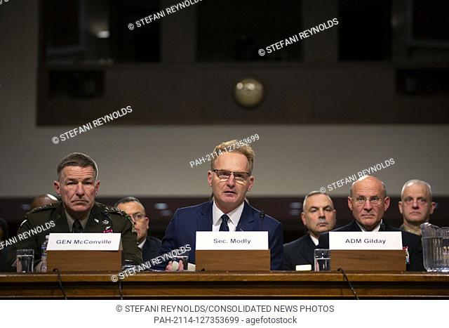 Acting Secretary of the Navy Thomas Modly, on a panel with Director of Defense Capabilities and Management at the Government Accountability Office Elizabeth...