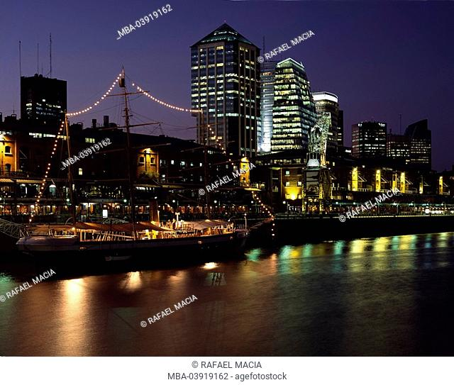 Argentina, Buenos Aires, city view, Puerto Madero, illumination, evening, South America, capital, city, sight, destination, Microcentro, business-quarter