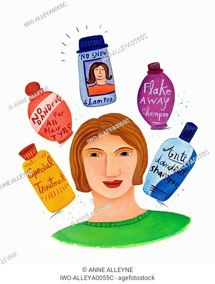 Woman with many bottles of shampoo