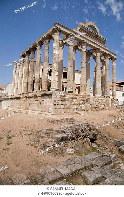The Temple of Diana was found in the Roman Forum of Emerita Augusta, present-day's Merida. It dates from the end of the 1st century BC