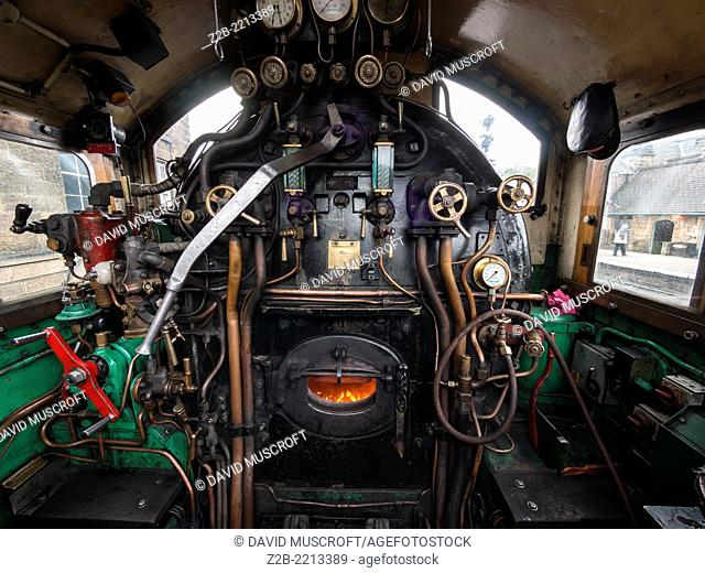 Detail of the controls of a vintage steam engine locomotive, North Yorkshire Moors Railway, on the North Yorkshire Moors, Yorkshire, UK