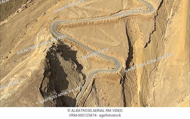 Aerial footage of road in desert