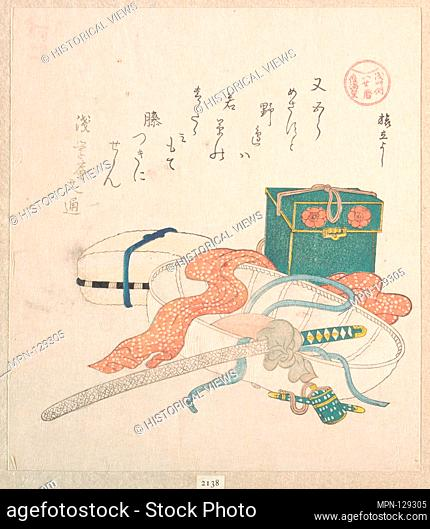 Outfit for Travel. Artist: Kubo Shunman (Japanese, 1757-1820) (?); Period: Edo period (1615-1868); Date: 19th century; Culture: Japan; Medium: Polychrome...