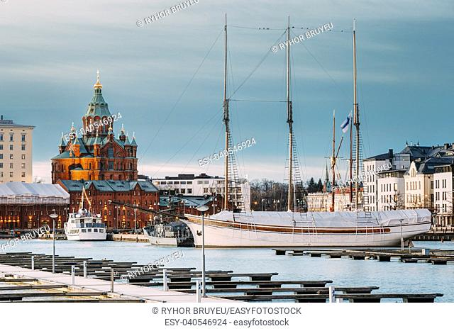 Helsinki, Finland. Evening View Of Uspenski Cathedral From Pier