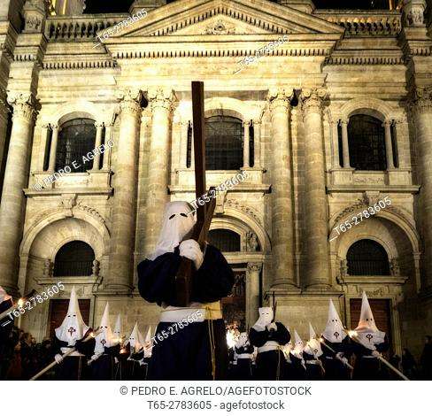 Easter procession at the Cathedral of Lugo (In 2015 it was declared a World Heritage by UNESCO as a unique building directly linked to the path of Santiago and...
