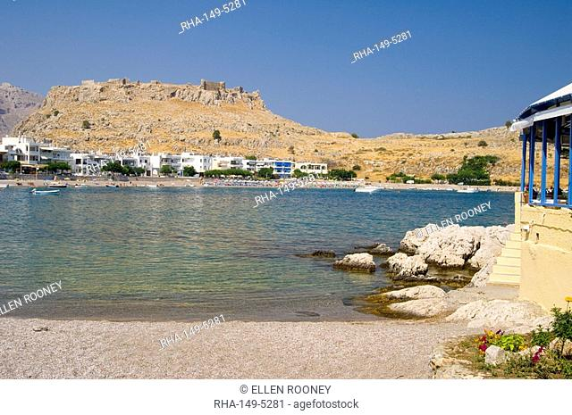 The custom built resort of Charaki on a bay 40 km south of Rhodes Town, Rhodes, Dodecanese, Greek Islands, Greece, Europe