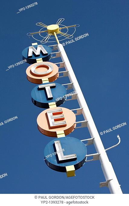 Albuquerque, New Mexico: Vintage sign of the Premiere Motel along Central Avenue. Built in 1941 on historic Route 66, the classic motor court has been renovated...