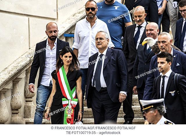 Mayor of Rome Virginia Raggi and President of S.S. Lazio Claudio Lotito leave the Campidoglio Palace after the prizegiving at Campidoglio Palace, Rome