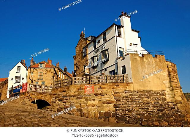 Bay Hotel Pub, village & slipway of historic fishing village of Robin Hood's Bay, Near Whitby, North Yorkshire, England