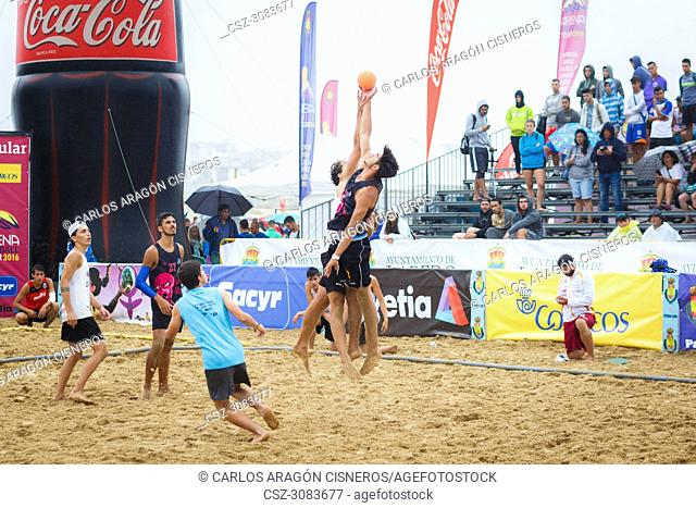 LAREDO, SPAIN - JULY 31: Jump two players challenging for the ball initial in the Spain handball Championship celebrated in Laredo in July 31, 2016 in Laredo