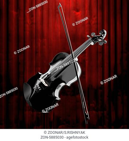 violin and red curtain