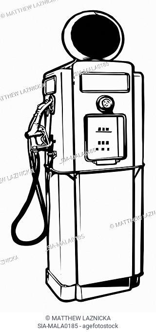 Gas pump on white