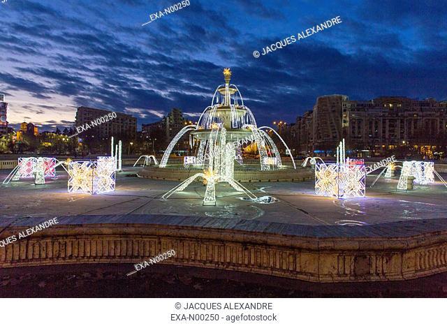Christmas illumination at the Union Square, Bucharest, Romania, Europe