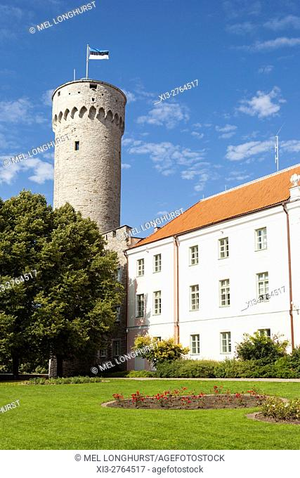 Pikk Hermann Tower, part of Toompea Castle, and Estonian Parliament building, Old Town, Tallinn, Estonia