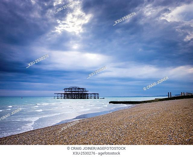 The remains of West Pier at Brighton and Hove, East Sussex, England