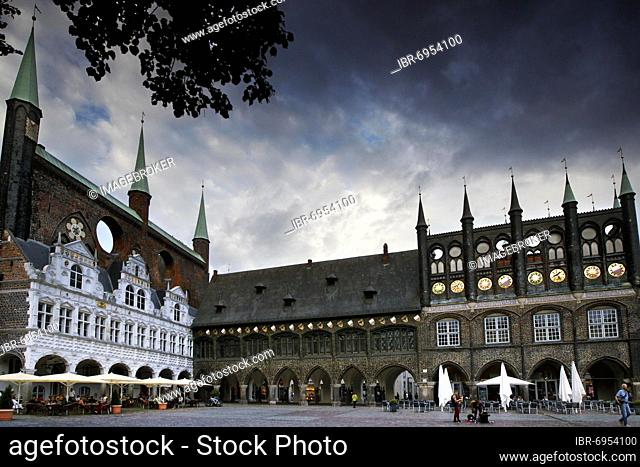 Town Hall, medieval brick gothic town hall of Lübeck, Old Town, medieval city, UNESCO World Heritage Site, Hanseatic City of Lübeck, Schleswig-Holstein, Germany