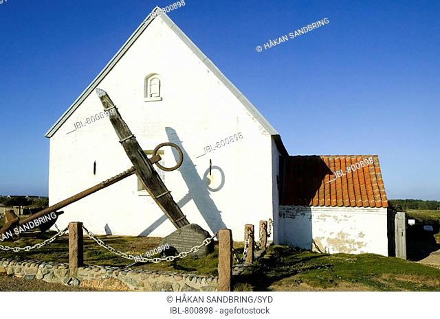 Anchor and church, Mårup church, Rubjerg, Jutland, Denmark