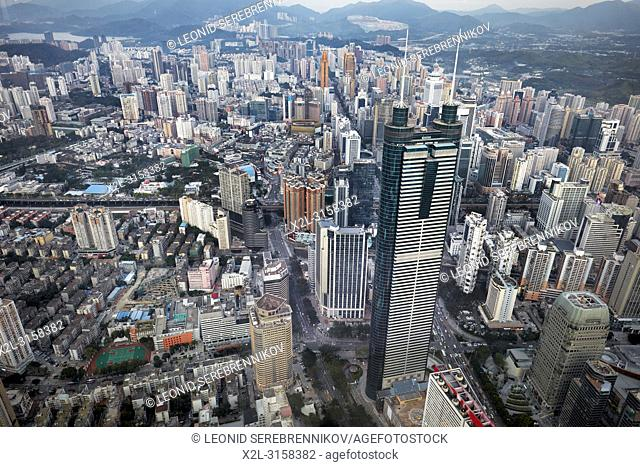 Aerial city view from the top of KK100 (Kingkey 100) skyscraper. Luohu District, Shenzhen, Guangdong Province, China