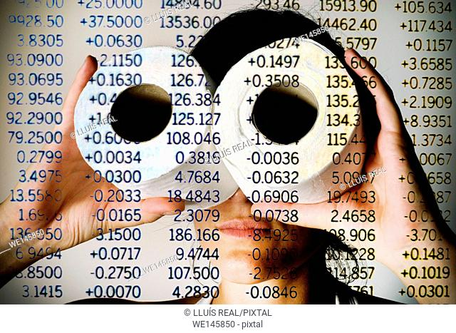 Money market, digital composition of a woman looking through toilet paper rolls on a list of a stock exchange numbers