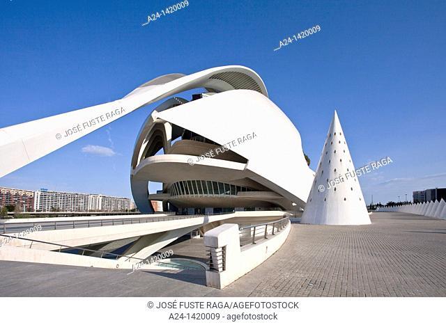 Queen Sofia Palace of the Arts, City of Arts and Sciences built by Calatrava, Valencia, Comunidad Valenciana, Spain