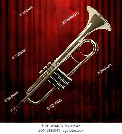 trumpet and red curtain