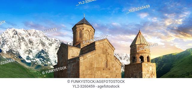 Pictures & images of Gergeti Holy Trinity (Tsminda Sameba) Georgian Orthodox and Apostolic Church and bell tower, 14th century, Gergeti, Khevi province