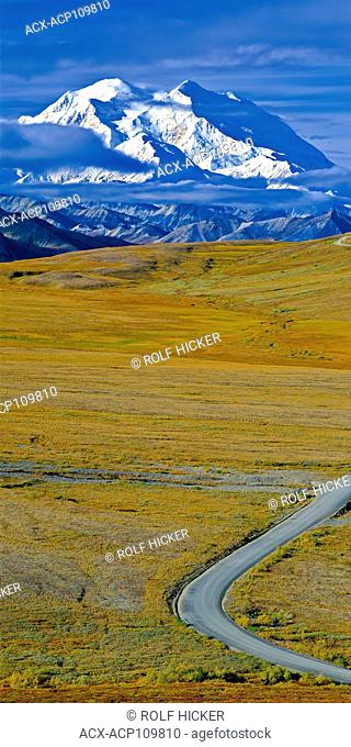 Denali National Park road leading towards the snow capped Mount McKinley