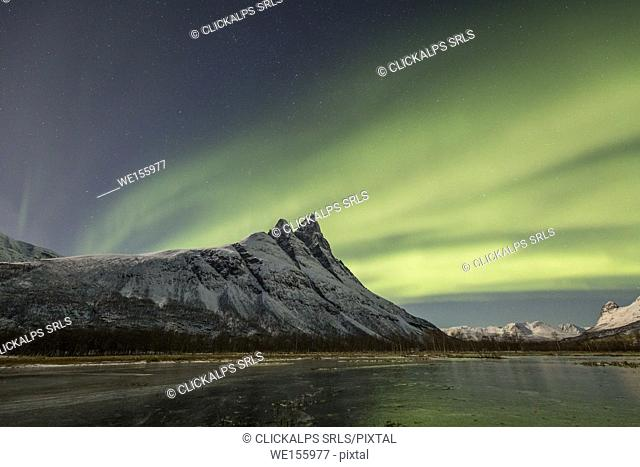 Northern lights above mount Otertind, Storfjord,Troms,Norway,Europe