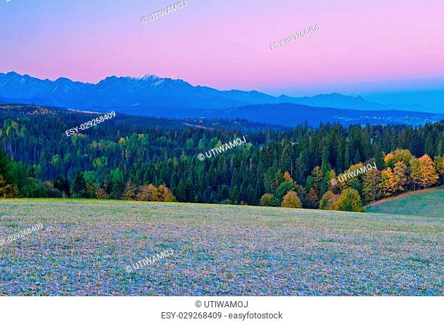 The Western Tatra Mountains. View from Spiš Magura. Poland
